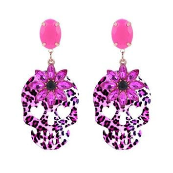 Skull Drop Earrings For Woman Crystal Stone Pendents Earrings Fashion Jewelry