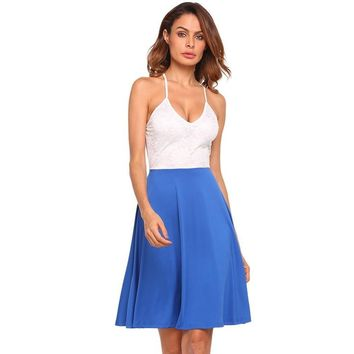 Blue V-Neck Spaghetti Strap Beach Dress