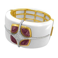 Valente Onyx Tourmaline Diamond Gold Bangle Bracelet
