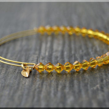 Sunflower Beaded Bangle bracelet, Adjustable Bracelet, Expandable Beaded bangle, Swarovski Crystal, Stacking Bangle, Layering Bracelet