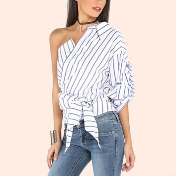 Women 2018 Summer Sexy Off Shoulder Blouses Ladies Elegant V Neck Half Puff Sleeve Bow Waist Blusas Tops Casual Stripe Shirts