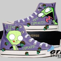 Hand Painted Converse. Invader Zim. Gir. Handpainted shoes.