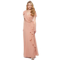 Designer dark peach drape front maxi dress at debenhams.com