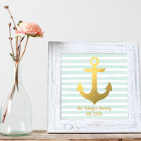 Custom Anchor Family Print - Mint and Gold