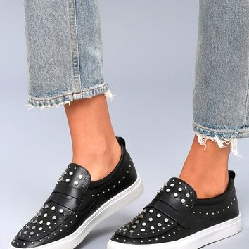 Albie Black Studded Slip-On Sneakers