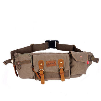 Mens Pocket Waist Bag Canvas Crossbody Bag Climb Bag