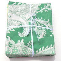 Cotton Fabric, Rosewater Fat Quarter Bundle, Mint colorway, Verna Mosquera, Freespirit Fabrics