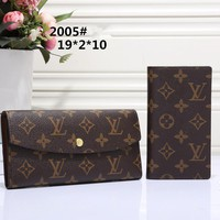 """Louis Vuitton"" Women Fashion Tartan Multifunction Long Section Purse Button Flip Wallet"