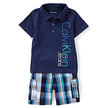 Calvin Klein 12-24 Months Jersey Polo Shirt & Yarn-Dyed Plaid Woven Sh