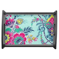 Girly Floral Paisley Print Serving Tray