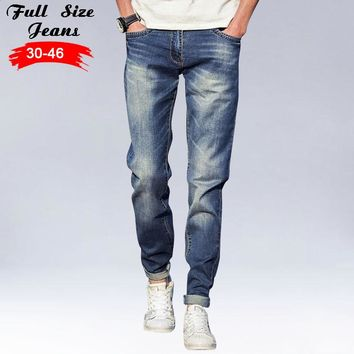 2017 Plus Size Light Blue Tapered Jeans Men 4XL 5xl 36 38 Slim Fit Denim Jeans Casual Jean Big Size Pencil Pants