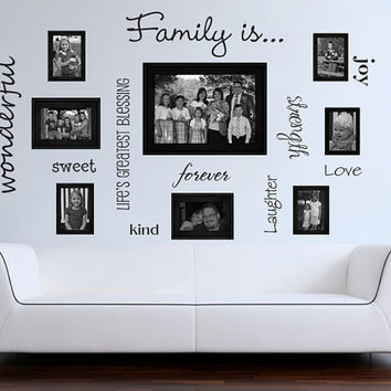 Family words family photo wall vinyl wall decal