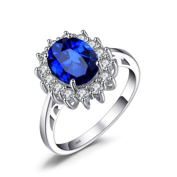 Jewelry Palace Created Blue Sapphire Engagement Princess Diana Kate Middleton Ring 925 Sterling Silver