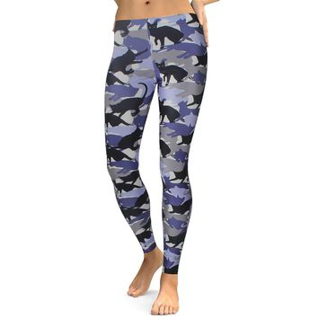 Cat Collage Camouflage Women's Blue & Black Slim High Waisted Elastic Printed Fitness Workout Leggings
