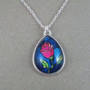 2018 New design Beauty and the Beast Rose Necklace Beast Time gem glass Alloy pendant necklace