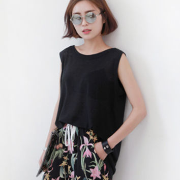 Boxy Sleeveless Top - Miamasvin loves u! Womens Clothing. Korean Fashion.