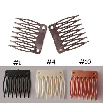 50pcs/lot Plastic Wig Combs Clips 7 Teeth Hair Extension Clip For Making Weaves Wig Cap Full Lace Front Styling Accessories New