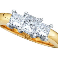 Princess 3 Stone Diamond Ring in 14k Two Tone Gold 0.5 ctw