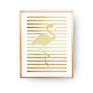 Flamingo Print, Real Gold Foil, Flamingo Wall Art, Minimal Art, Kids Room Decor, Gold Flamingo Poster, Nursery Decor, Flamingo Poster, 8x10