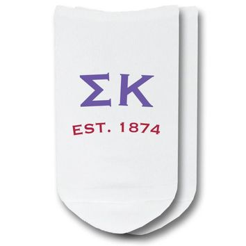 Sigma Kappa - Greek Letters with Sorority Founding Date No-Show Socks - 1 pair