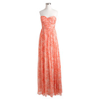 J.Crew Womens Marbella Long Dress In Watercolor Silk Chiffon
