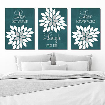 Live Laugh Love Wall Art, CANVAS or Prints, Teal Gray Bedroom Pictures, Teal Gray Bathroom Quotes Decor, Flower Wall Decor, Set of 3 Artwork