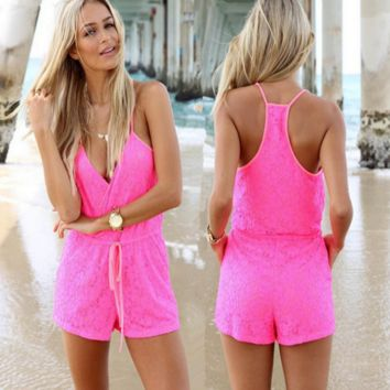 Hot Pink Drawstring Lace Romper B0015075