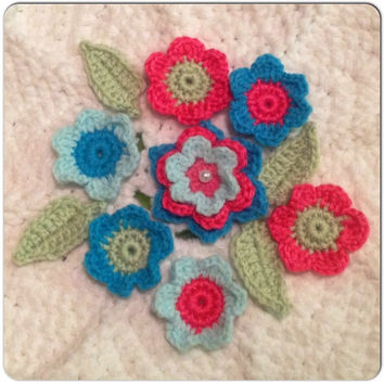 Hand Crochet Flower Appliques Embellishments Bright Set of 11-Key Lime Pie, Hot Pink, Teal and Mint Green