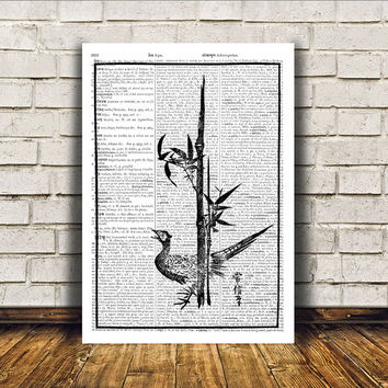 Modern decor Pheasant poster Dictionary print Bird art RTA174