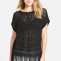 Junior Women's Sun & Shadow 'Pretty Stitch' Crochet Fringe Tee