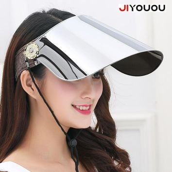 JIYOUOU 2017 The hd vision visor organizer summer transparent womens plastic sun motorcycle helmet Cap men window Anti UV green