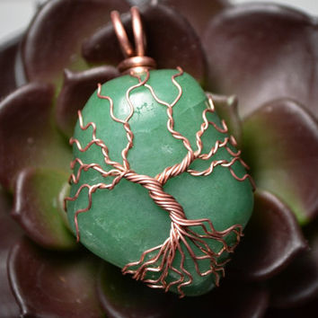 Aventurine Tree of Life Pendant Copper Set Green Aventurine Stone Twisted Wire Metaphysical Tree Necklace Yggdrasil Celtic Tree