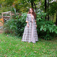 1950s Plaid Wrap Jacket Long Pink Blue Green Opera Coat Vintage 50s Belted Jacket with Pockets Duster Dress Coat Womens Small Medium