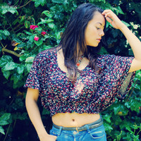 Bohemian Top Crop Shirt Oversized Floral Elastic Waist Boho Hippie Summer Festival Recycled Upcycled Clothing Eco Friendly Clothing OOAK
