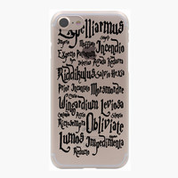 Harry Potter Spells Stickers Hard Transparent Case for iPhone 7 7 Plus 6 6S Plus 5 5S SE 5C 4 4S