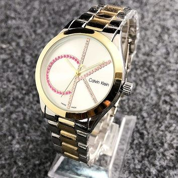 CK Watch Colorful Diamond Mark Calvin Klein Women Men Trending Watch Metal Watchband Gold