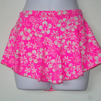 Figure Skating Skirt for Girls, Girls Size Medium, Beautiful Pink with White Hibiscus Flowers and Maroon Splash, Baton, Dance