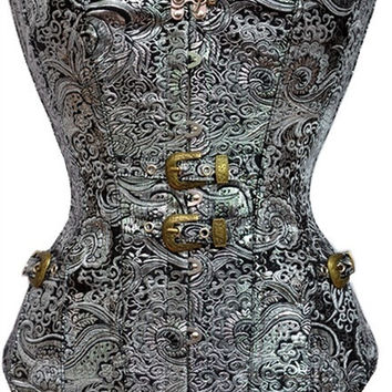 Women Sexy Lingerie Cosplay Halloween Showgirl Burlesque Performance Stage Costume Clothing Clubwear Party Wear Steampunk Punk Rock Rocker Floral Jacquar Overbust Corset Bustier Basque Korsett Vest Waistcoat Top Waist Training Cincher Trainer Body Shaper