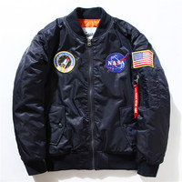 New Men Long Sleeve NASA Air Force Pilot Luxury Brand Windproof Bomber Jacket Thin Style US Army Waterproof Men Baseball Jackets