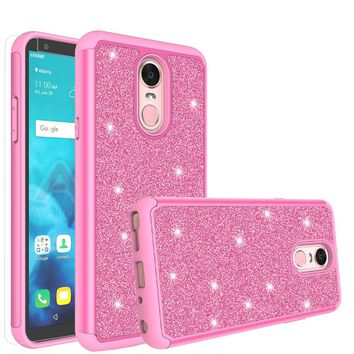 LG Stylo 4 Case, Stylo 4 Glitter Bling Heavy Duty Shock Proof Hybrid Case with [HD Screen Protector] Dual Layer Protective Phone Case Cover for LG Stylo 4 - Hot Pink