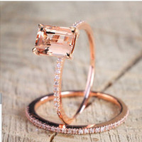 European and American Plated 18K Rose Gold Diamond Engagement Ring Fine Micro-inlaid Zircon Ring
