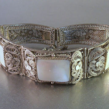 Chinese Silver Filigree MOP Panel Bracelet, Mother of Pearl, Art Deco