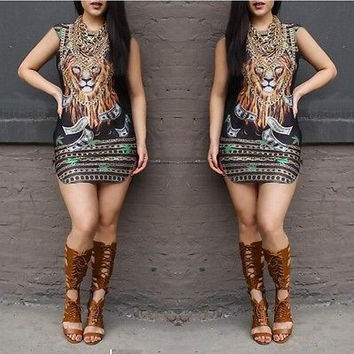 Summer Women Dress 2016 Plus Size Womens Sexy beach animal lion print Vestido sexy Casual Dress