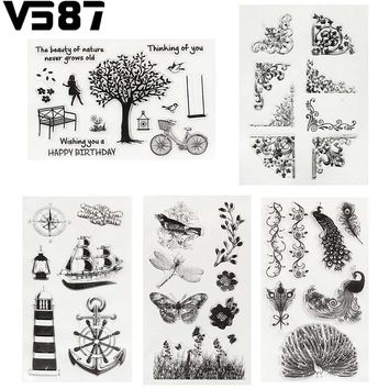 Silicone Clear Rubber Stamp Cling Set Tree Anchor Bird Scrapbooking Transparent DIY Paper Card Album Decorative Tools 5 Patterns
