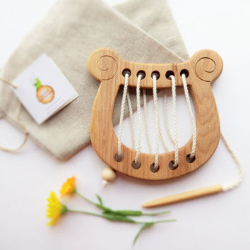 Wooden lacing toy Lyre Fine Motor Skills Learning toy Educational Wooden Toy Montessori Wood Toys for Kids For Music lovers