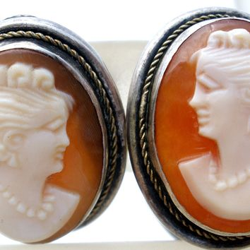 Sterling Silver Carved Cameo Earrings Vintage