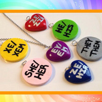 Free Shipping US only | Pronoun Necklace | Genderfluid Necklace | Transgender Necklace | lgbt jewelry