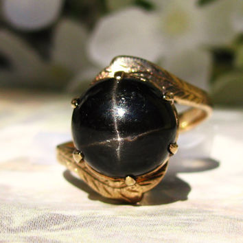Antique Black Star Sapphire Ring 14K Yellow Gold Crown Setting Vintage Ring Size 6!