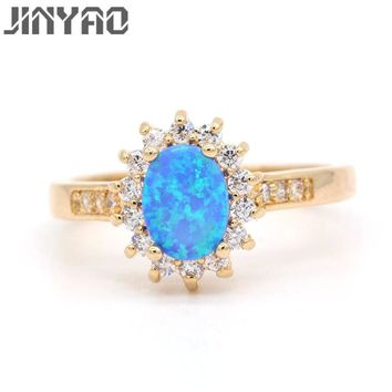JINYAO Charm Oval Fire Opal & Cubic Zircon Gold Color Wedding Ring For Women Fashion Gift Jewelry 4colors