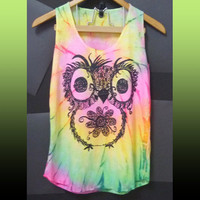 Baby owl tank top flower art vintage a line tank/ small size/ owl girl/ colorful unique tee women teen girls fashion size XS S one size